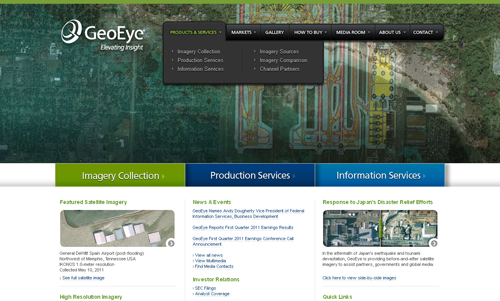 GeoEye Corporate Website - Gold 2011 Summit Creative Award Winner